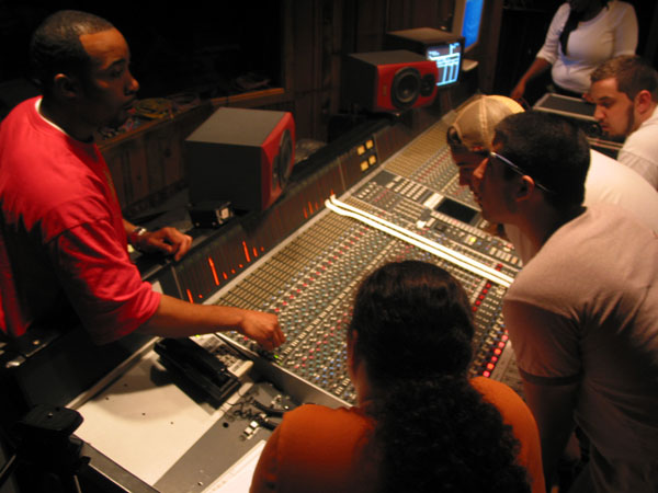 Student Session in Studio B with Omega's SSL Console